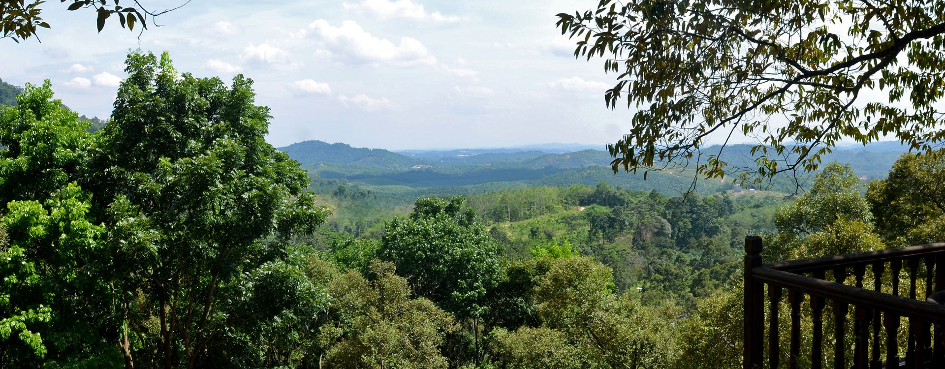 the Dusun today – Emas House. On the left is the mahogany forest with the jungle beyond. Ahead are the beautiful Mantin Hills