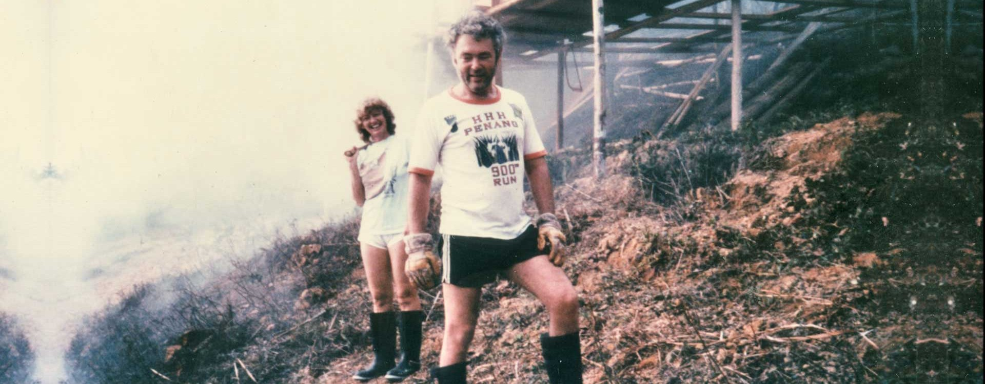 1984 – David and Helen clearing bracken off the top lot and slowly nursing raw soil back to health